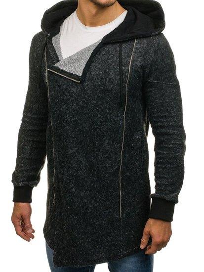 Černá pánská dlouhá mikina na zip s kapucí Bolf 171693