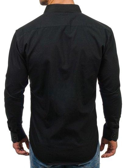 Černá pánská elegantní košile s dlouhým rukávem Bolf 001