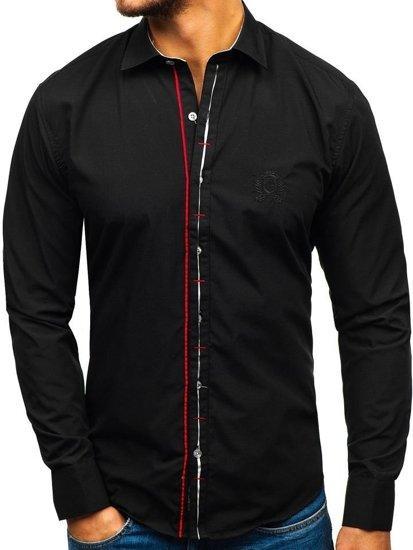 Černá pánská elegantní košile s dlouhým rukávem Bolf 1769