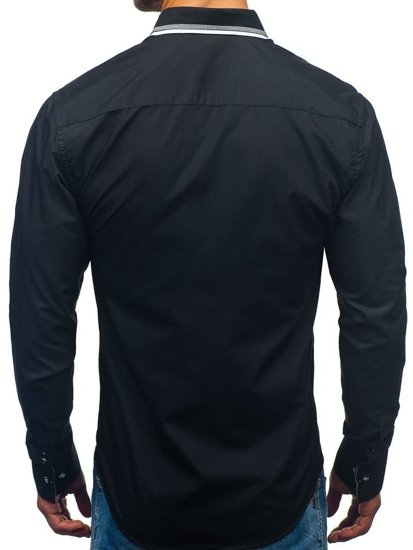Černá pánská elegantní košile s dlouhým rukávem Bolf 3704-1