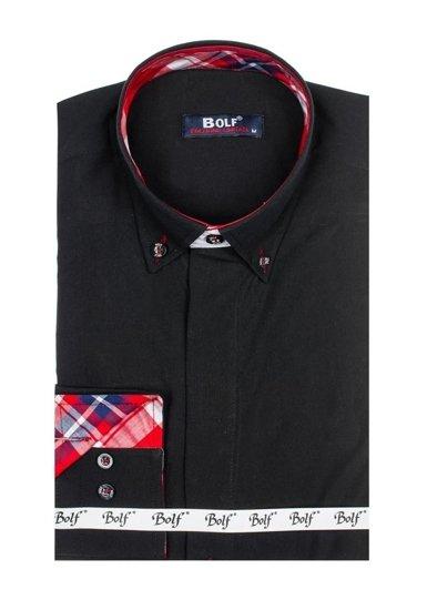 Černá pánská elegantní košile s dlouhým rukávem Bolf 6930