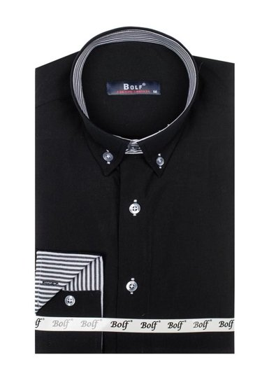 Černá pánská elegantní košile s dlouhým rukávem Bolf 6943