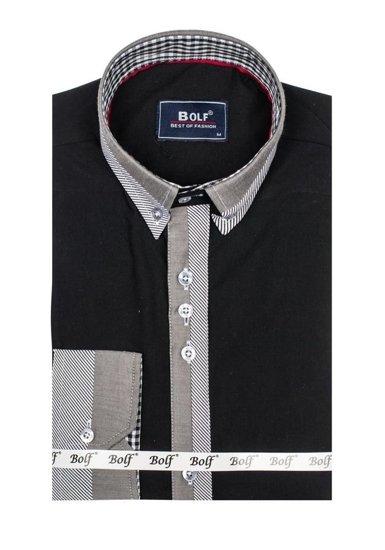 Černá pánská elegantní košile s dlouhým rukávem Bolf 6950