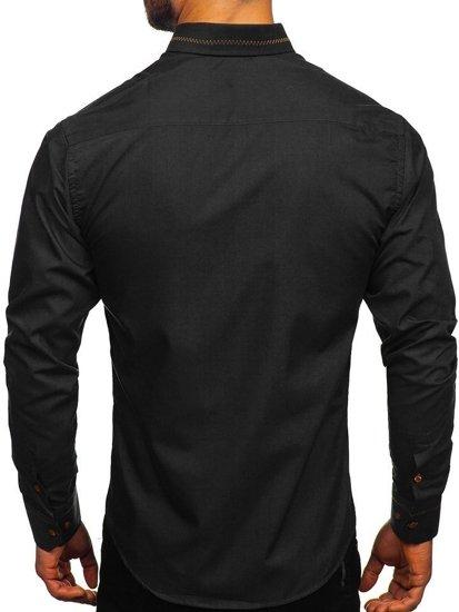 Černá pánská elegantní košile s dlouhým rukávem Bolf 6964
