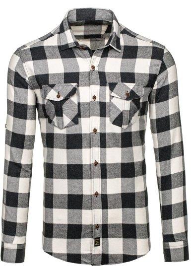 Černá pánská flanelová košile s dlouhým rukávem Bolf 1770