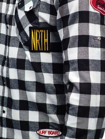 Černá pánská flanelová košile s dlouhým rukávem Bolf 2503