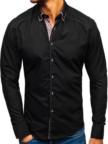 Černá pánská košile s dlouhým rukávem Bolf 3707
