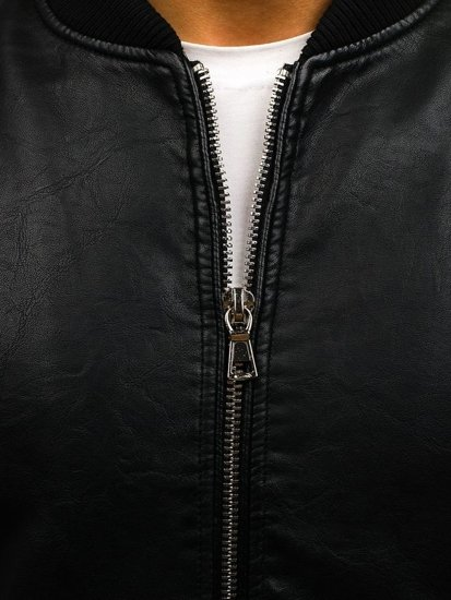Černá pánská kožená bunda z ekokůže Bolf 9150