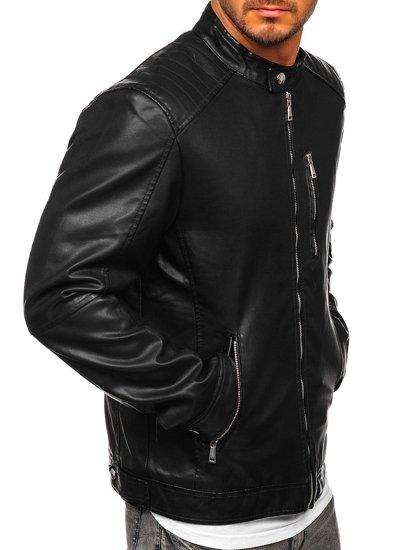 Černá pánská koženková bunda Bolf 1149