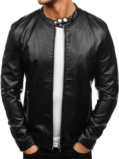 Černá pánská koženková bunda Bolf 8977