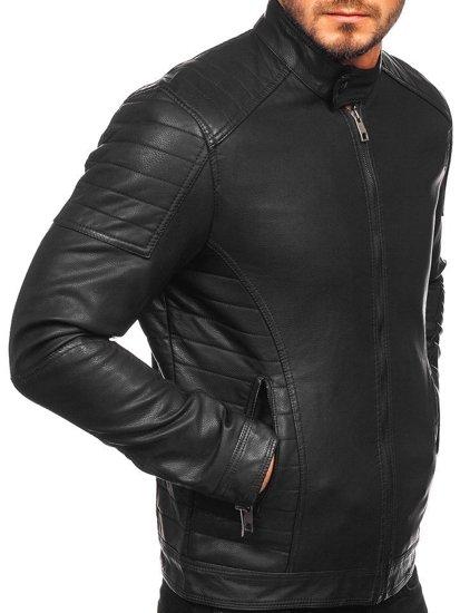 Černá pánská koženková bunda biker Bolf 88901