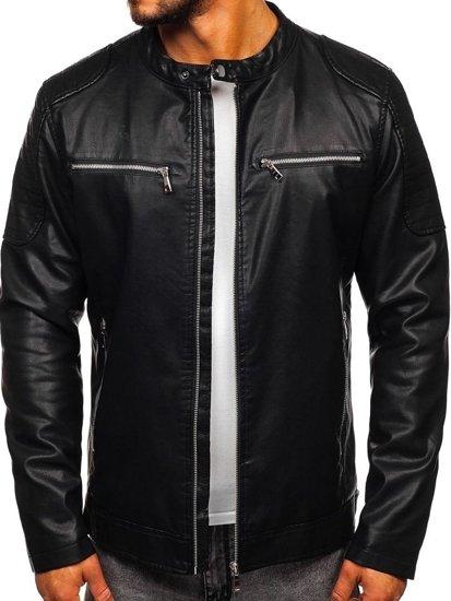 Černá pánská koženková bunda s kapucí Bolf 1106