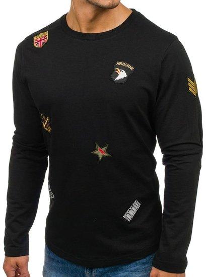 Černá pánská mikina bez kapuce s potiskem Bolf 0739