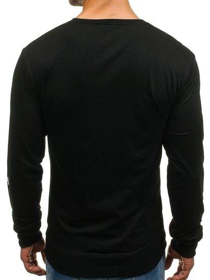 Černá pánská mikina bez kapuce s potiskem Bolf 8057