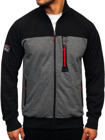 Černá pánská mikina na zip bez kapuce Bolf JX9892