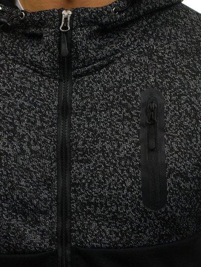 Černá pánská mikina na zip s kapucí Bolf AK42