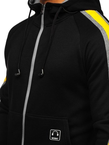 Černá pánská mikina na zip s kapucí a se sluchátky Bolf 81052