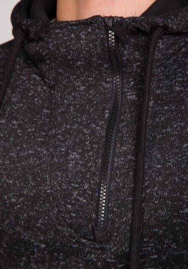 Černá pánská mikina s kapucí Bolf 2134