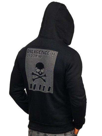 Černá pánská mikina s kapucí a potiskem Bolf 33101
