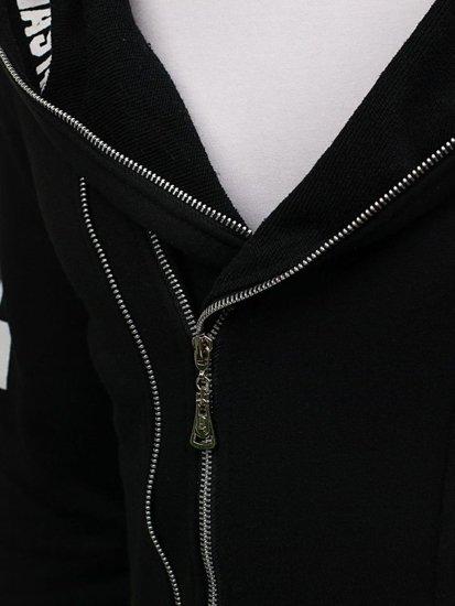 Černá pánská mikina s kapucí s potiskem Bolf 2036