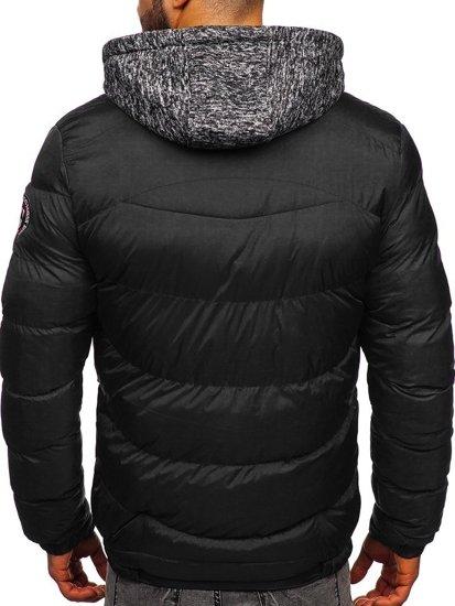 Černá pánská prošívaná sportovní zimní bunda Bolf 50A155