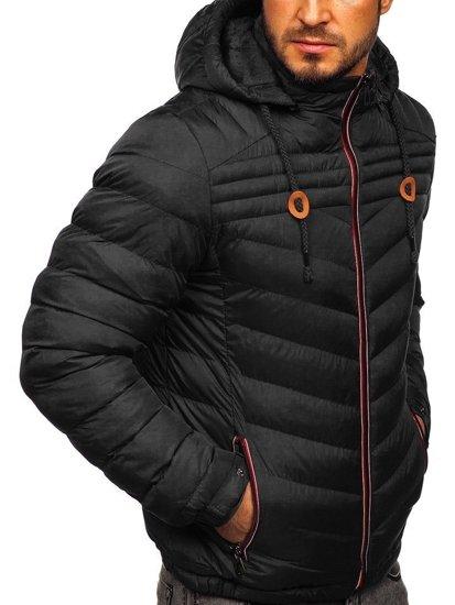 Černá pánská prošívaná sportovní zimní bunda Bolf 50A178