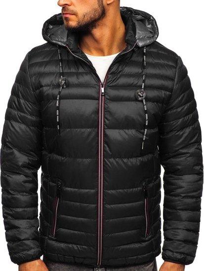 Černá pánská prošívaná sportovní zimní bunda Bolf 50A215
