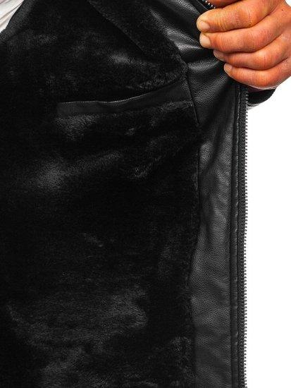 Černá pánská zateplená koženková bunda biker Bolf 92530