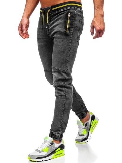 Černé pánské džínové jogger kahoty Bolf HY736