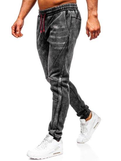 Černé pánské džínové jogger kalhoty Bolf KA1066