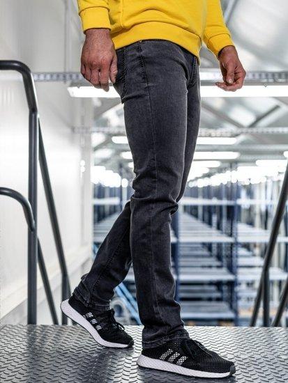 Černé pánské džíny straight leg Bolf KA1063