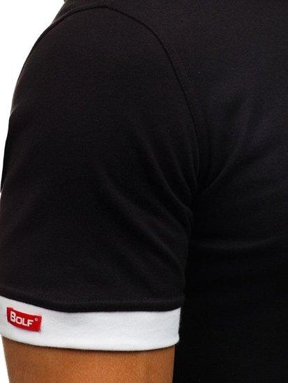 Černé pánské tričko bez potisku Bolf 08