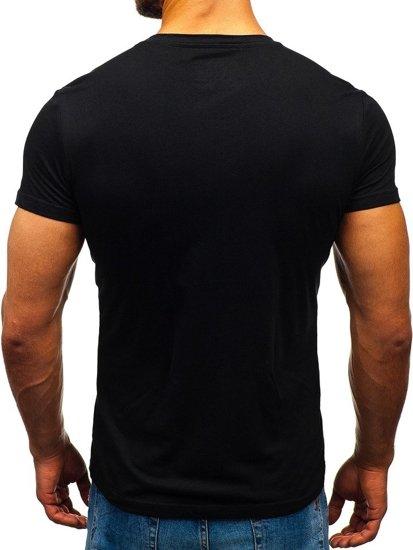 Černé pánské tričko bez potisku Bolf S02