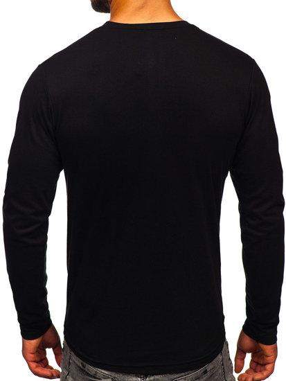 Černé pánské tričko s dlouhým rukávem a potiskem Bolf 1214