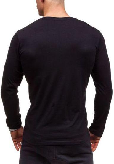 Černé pánské tričko s dlouhým rukávem s potiskem Bolf 1934