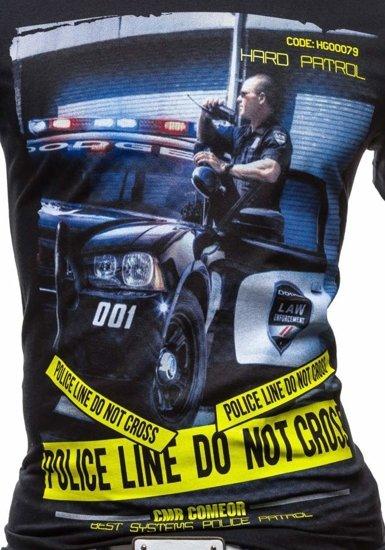 Černé pánské tričko s potiskem Bolf 3211
