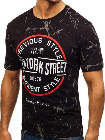 Černé pánské tričko s potiskem Bolf 6301