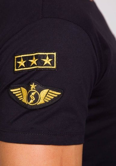 Černé pánské tričko s potiskem Bolf 9021
