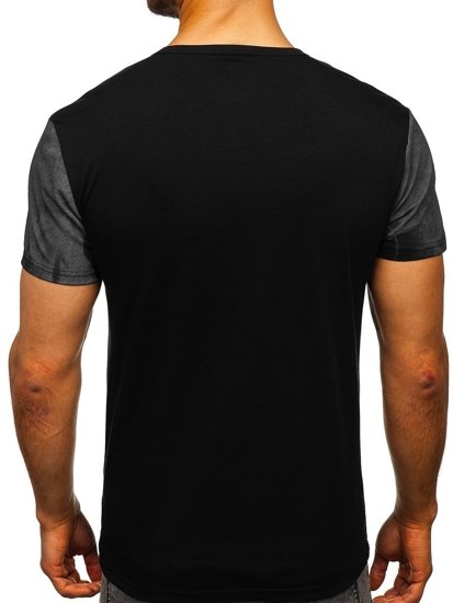 Černé pánské tričko s potiskem Bolf S029