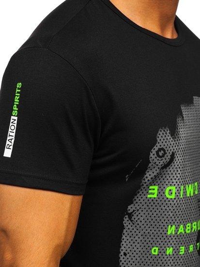 Černé pánské tričko s potiskem Bolf SS10931