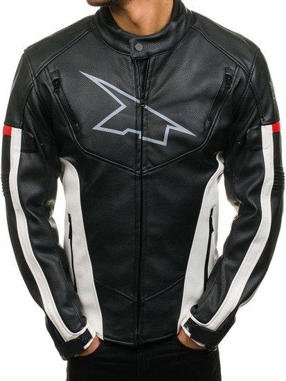 Černo-červená pánská koženková bunda Bolf 4681
