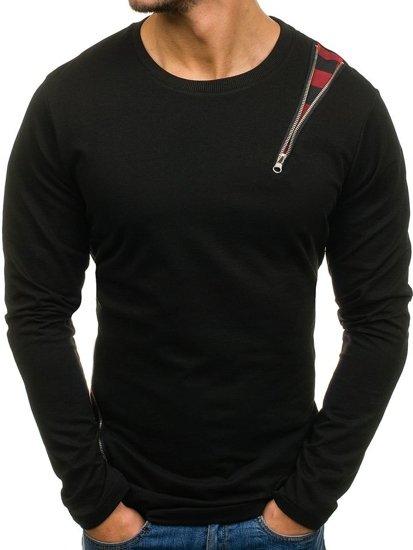 Černo-červená pánská mikina bez kapuce Bolf 0754