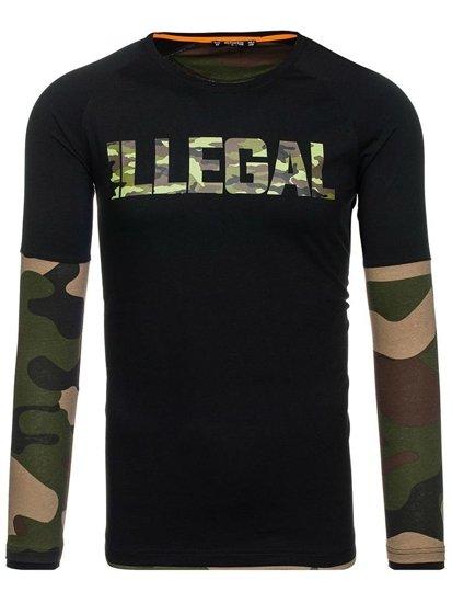 Černo-khaki pánské tričko s dlouhým rukávem Bolf 1162