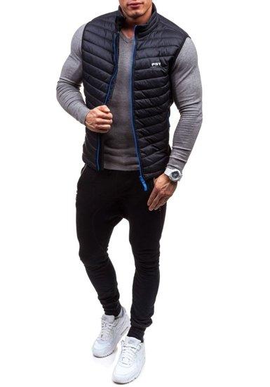 Černo-modrá pánská vesta bez kapuce Bolf 5707