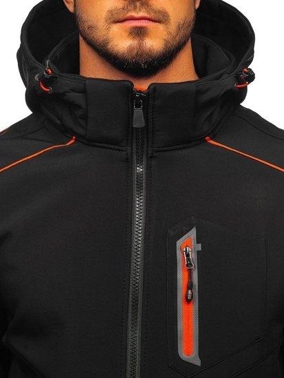 Černo-oránžová pánská softshellová bunda Bolf 12259