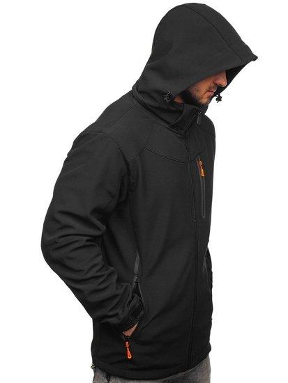 Černo-oránžová pánská softshellová bunda Bolf 12269