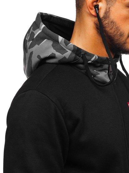 Černo-šedá pánská mikina na zip s kapucí a se sluchátky Bolf HY610