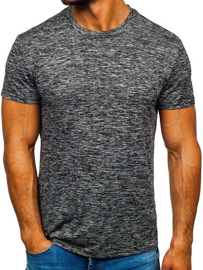 Černo-šedé pánské tričko bez potisku Bolf S01
