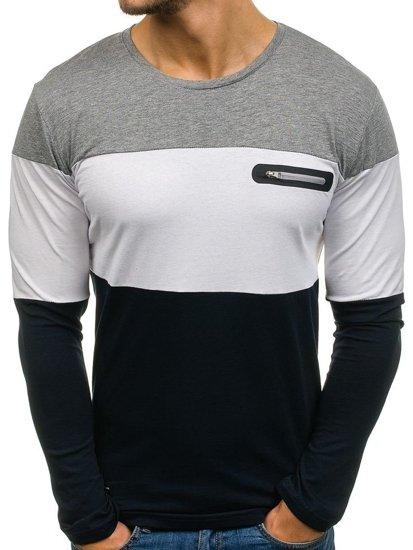 Černo-šedé pánské tričko s dlouhým rukávem Bolf 1166