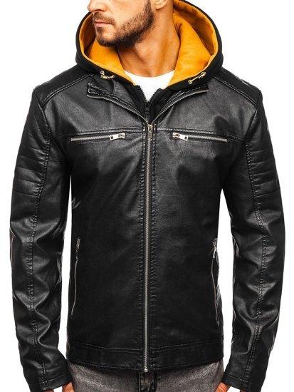 Černo-žlutá pánská koženková bunda s kapucí Bolf 6131